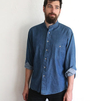 Vintage 90s Men's Collarless Blue Denim Button Up Shirt // Long Sleeve