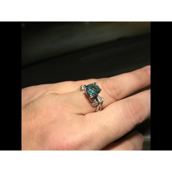 Noble Women's 925 Sterling Silver Floral Ring Transparent Aquamarine Diamond Jewelry Lucky Flower Vine Leaf Birthday Proposal Gi