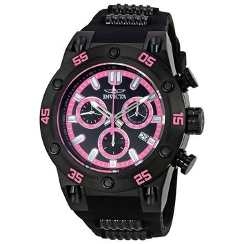 Invicta Speedway Chronograph Black and Pink Dial Black Polyurethane Mens Watch