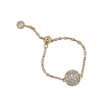 Solid Gold CZ Pave Adjustable Chain Link Ring