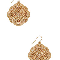 FOREVER 21 Scalloped Filigree Drop Earrings Peach/Gold One