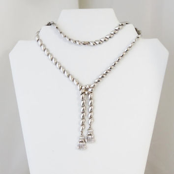 RARE Early TRIFARI Pat Pend Rhodium Plated Tassel Necklace