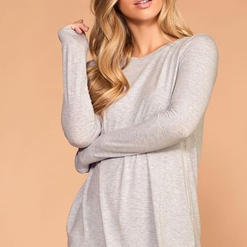 Krysha Heather Grey Round Neck Long Sleeve Top