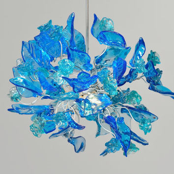 Ceiling lamp, blue color  flowers and leaves.