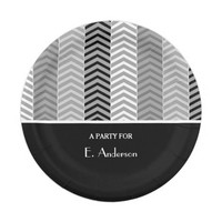 Contemporary Black White Chevron Stripes and Name 7 Inch Paper Plate