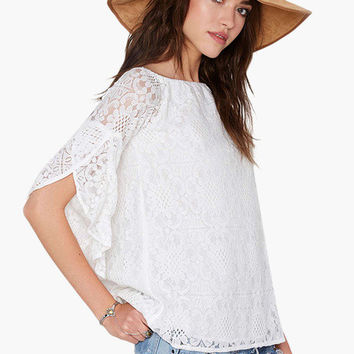 White Bell Sleeve Floral Lace Top