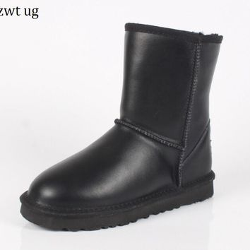 zwt ug fashion Winter Boots Women Snow Boots Australia Winter Boots Warm Fur Genuine Leather Waterproof Woman Botas mujer