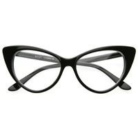 Super Cat Eye Glasses Vintage Inspired Mod Fashion Clear Lens Eyewear (With Free Microfiber Pouch)