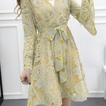Casual Bell Sleeve V-Neck Bowknot Lace Skater Dress