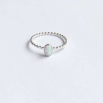 dainty oval opal ring beaded band petite small oxidized sterling silver ring bridesmaid engagement gift birthstone stackable stacking ring