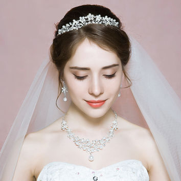 Fashion Princess Crown Pearl Wedding Jewelry Sets Women Tiara Necklace Earrings Bridal Accessoires Choker for Party Engagement