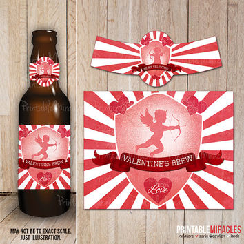 Valentine's Day beer bottle labels / Digital printable Valentine party decorations / Gift for her / Retro style Valentines beer labels