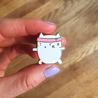 Yoga Enamel Pin - cute cat pin hat badge