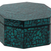 "6"" Wood Tiled Box, Teal, Boxes"