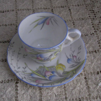Royal Stafford Fine Bone China Pretty Spring Crocus Flowers, Demitasse Cup And Saucer