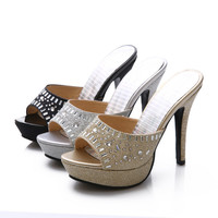 Rhinestone Platform Slides Sandals Stiletto Heel Wedding Shoes 2897