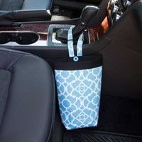 Car Trash Bag ~ Aqua Lattice ~ Black Band ~ Gearshift Handle ~ Oilcloth Lining
