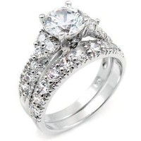 Sterling Silver Cubic Zirconia CZ Wedding Engagement Ring Set: Jewelry: Amazon.com