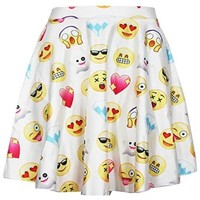 Womens Cartoon Emoji 3d Digital Print High Waisted Pleated Skirt