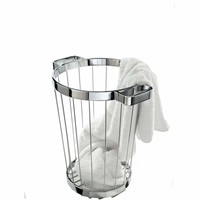 DWBA Brass Hamper Laundry Towel Basket without Cover (Polished Chrome)