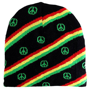 Enimay Short Printed Winter Hat Beanie Knit Cap Skullcap Rasta Peace Sign