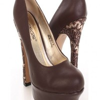 Brown Faux Leather Semi Gloss Platform Pump Heels