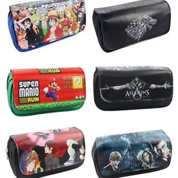 Harry Potter Mario Game of Throne Fabric Double Zipper Students Stationery Wallet Pencil Bag Kids Gift