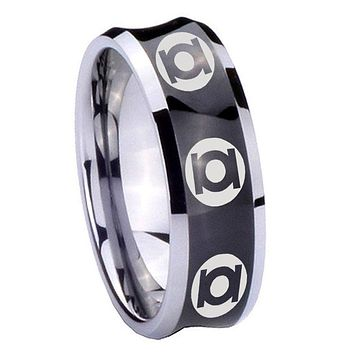 8MM Black Concave Multiple Green Lantern Two Tone Tungsten Carbide Laser Engraved Ring