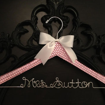 Bridal BLING Hanger / Pink Bling Glamorous Wedding Hanger / Personalized Hanger / Brides Hanger / Name Hanger / Wedding Hanger