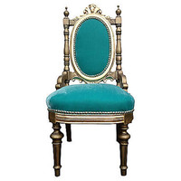 French Rococo Style Throne Chair Giltwood Gold by OrangeNolive