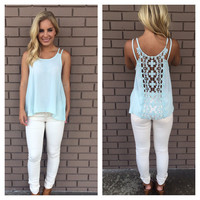 Crochet Please Tank - Baby Blue