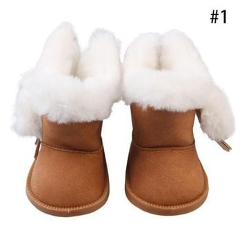Handmade Fashion Plush Winter Boots Shoes for 18inch American Girl Doll Shoes