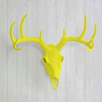 The Large Yellow Faux Taxidermy Resin Deer Head Skull Wall Mount | Yellow Deer Head w/ Colored Antlers