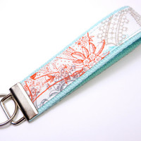 Key Fob Keychain Wristlet Aqua Blue, Coral, and Gray Lace on White Fabric on Aqua Blue Cotton Webbing