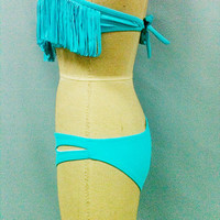 Colorful Sexy Women Tassel Bandeau Boho Strap or Strapless Fringe Bikini Bathing Suit Swimwear Swimsuit Top and bottom Two Pieces