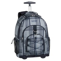 Gear-Up Grey Classic Plaid Rolling Backpack