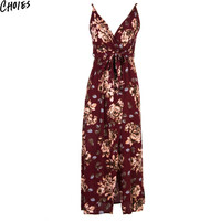 Women Multicolor V Neck Floral Print Wrap Front Cami Beach Maxi Dress Tie Waist 2016 Summer New Fashion Sexy Slim Casual Dresses
