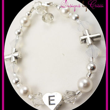 Cross Bracelet Pearl Personalized Initial Silver Crystal your colors girls baby, toddler, christening baptism and baby gift, first communion