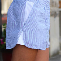 Seersucker Shorts {Blue}