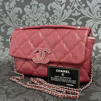 Rise-on CHANEL Ultra Stitch RED Leather Chain Shoulder bag Clutch bag #1880