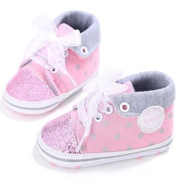 2017 Glitter Baby Girl Sequins Canvas High Cut Lace-up Shoes Sneakers Anti-slip Soft S