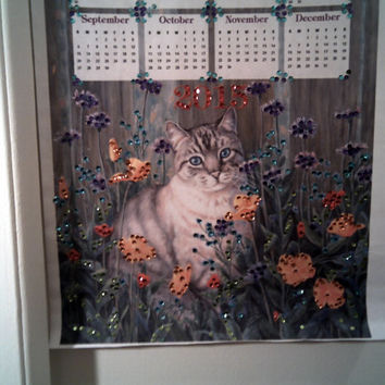 CAT LOVERS 2015 Sequin CALENDAR Super Special Sale Cat Calendar Wall Hanging Office Decor Christmas Gift For Cat Loving Friends Cat   Decor