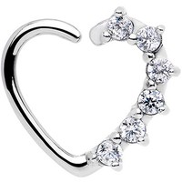 16 Gauge Clear CZ Heart Left Closure Daith Cartilage Tragus Earring | Body Candy Body Jewelry
