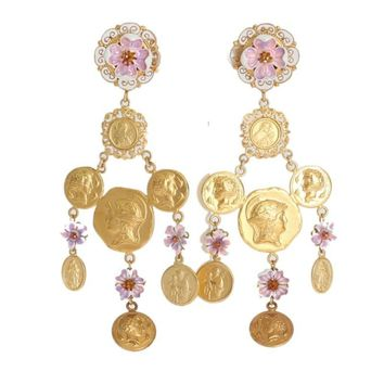 Dolce & Gabbana Gold Brass Floral Coins Dangling Clip On Earrings