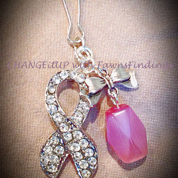 Rhinestone Awareness Ribbon Purse Dangle with a Pink Bead & Accent Bow Perfect for Gift, Gratitude, Breast Cancer, Awareness Events