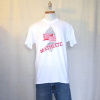 Vintage 80s MATHLETE GEOMETRIC GRAPHIC Funny Science Math Counts Soft White Hanes Medium 50/50 T-Shirt