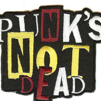 Punk's Not Dead Iron-On Patch Stacked Letters Logo