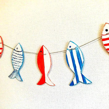 Garland, rustic handmade fish garland, nautical, nursery decor, red white blue fishes, baby garland, kids room decor, patriotic, party decor