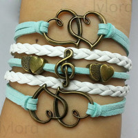Heart, Treble Cleff/ Music Note and Double Heart Charm Bracelet - Bronze, Wax Cords and Leather-FriendshipGift-Personalized Bracelet