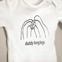 Cute Halloween Baby Onesuit Daddy Long Legs Spider Screenprinted Long Sleeve